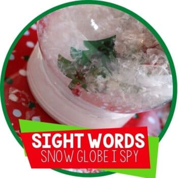 DIY sight words reading activity snow globe filled with sight words to play I Spy