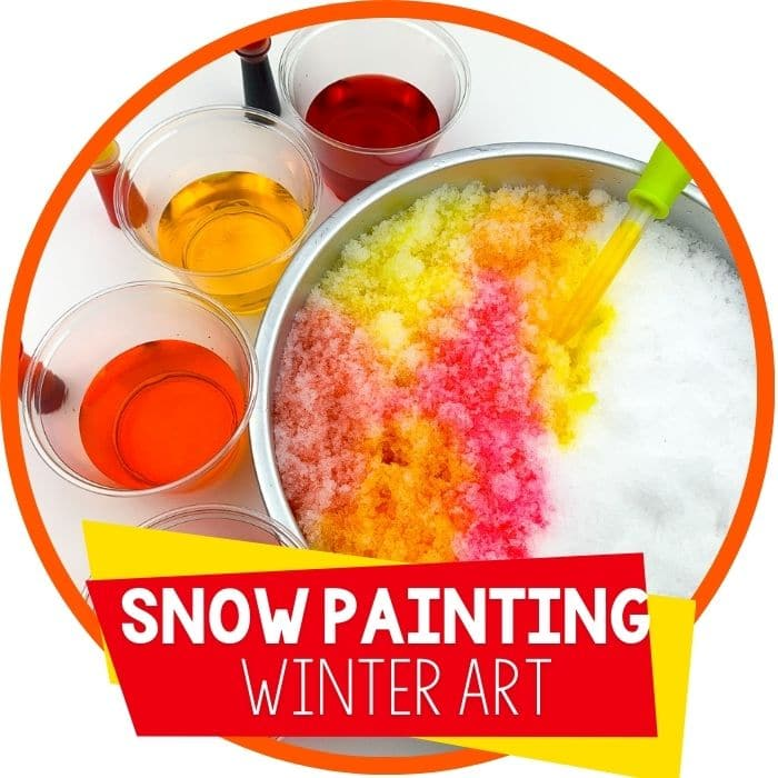 Snow Painting Winter Snow Activities for Preschool featured
