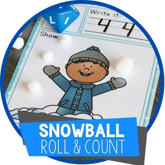 Free Preschool Counting Games Winter Snow Themed Roll and Count