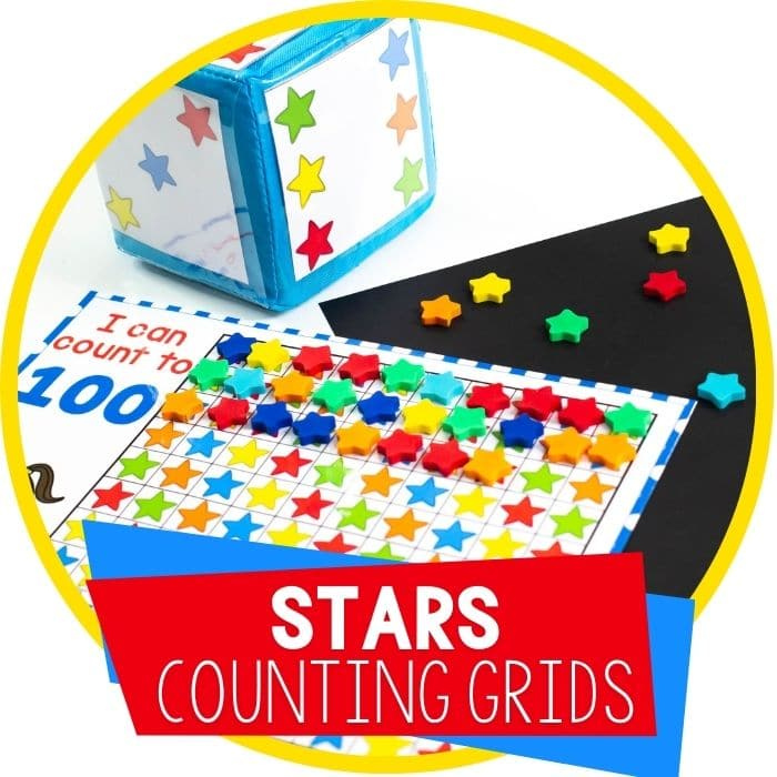 Star Mini Eraser Counting Grids for Preschool