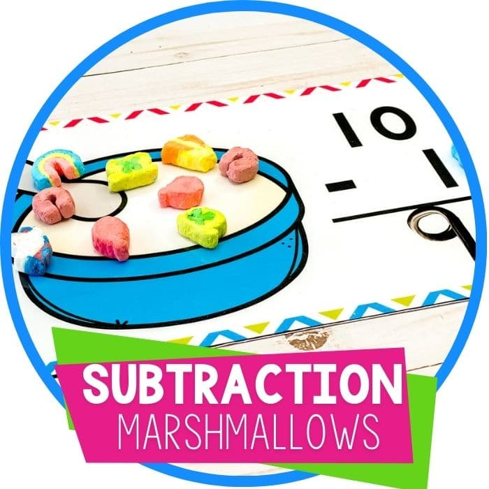 Free Printable Marshmallow Subtraction Problems for Kindergarten featured square image
