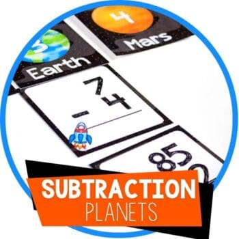 space theme subtraction sorting cards featured image