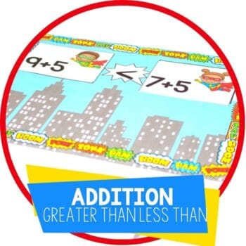 superhero theme addition activity greater than less than comparing addition facts featured image