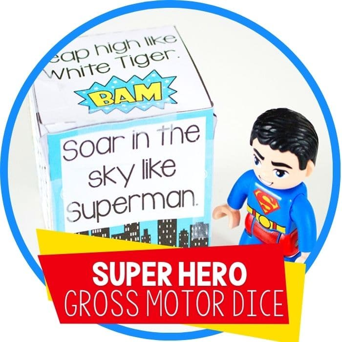 superhero gross motor brain break dice 'soar in the sky like Superman' with Superman DUPLO figure featured image