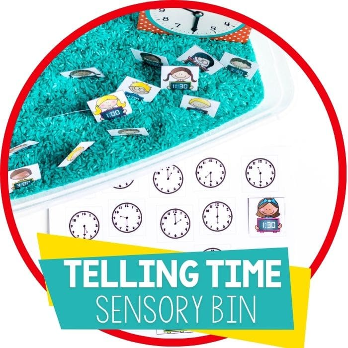 telling time sensory bin match up mat Featured Image