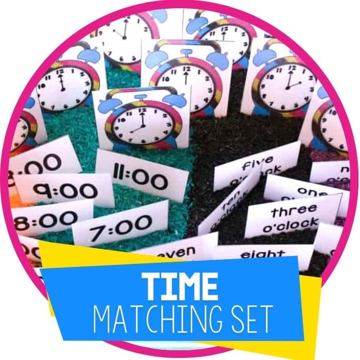 Time Sensory Bin with Free Printable for Telling Time