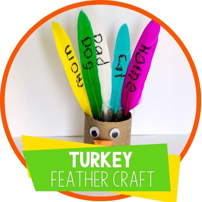 turkey feather craft with toilet paper roll and colored feathers featured image