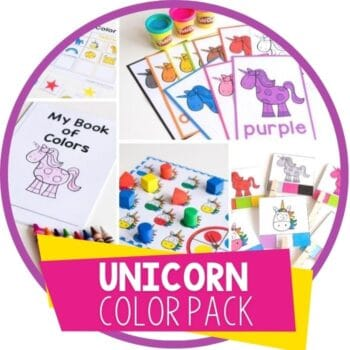 unicorn color activities for preschool: mini book, play dough mats, spinner matching games, clip cards and sorting mat featured image