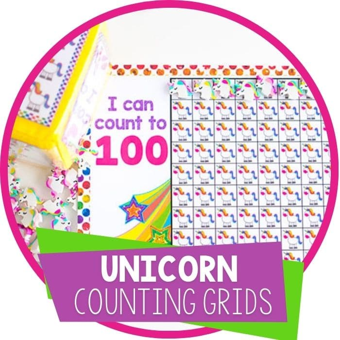 unicorn counting grids for numbers 10, 20 and 100 featured image