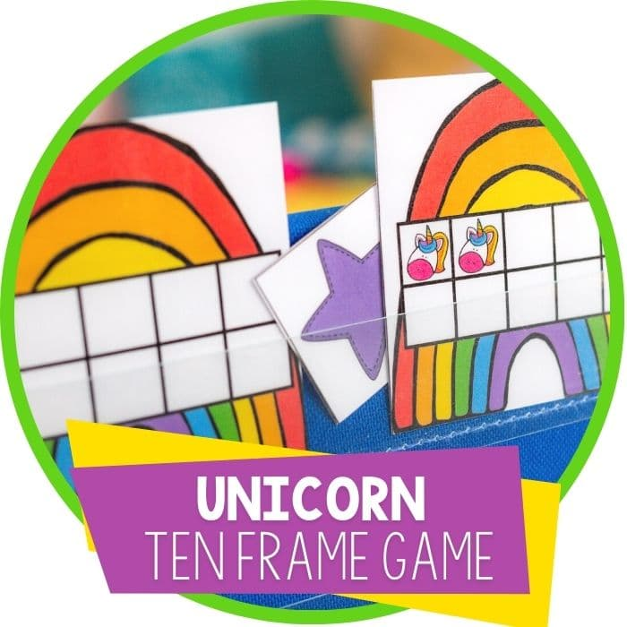 unicorns and rainbows ten frame pocket chart hide and seek game featured image