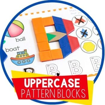 free printable uppercase alphabet pattern block template letter B featured image
