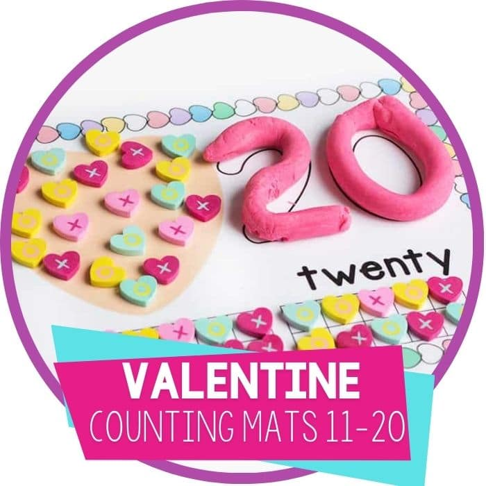 Free Valentine's Day Number Mats for Numbers 11-20