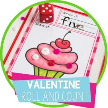valentine roll and count math dice game featured image