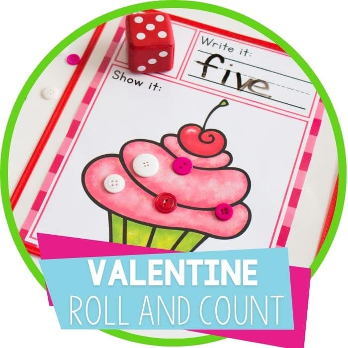 Valentine's Day Roll and Count Math Game