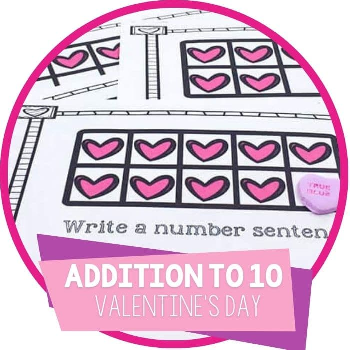 Free printable Valentines Day addition activity for kindergarten math centers for February