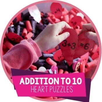 Free printable Valentine's Day math game addition hearts for matching addition problems