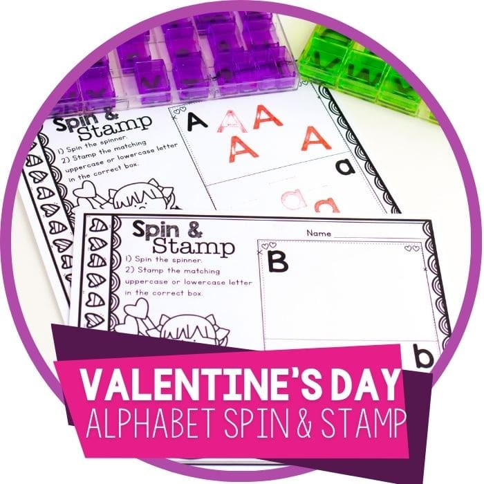 Valentine's Day Spin and Stamp Letter Recognition Printable for Preschool