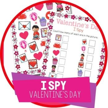 free printable Valentines I Spy game for preschoolers. Count Valentines Day pictures