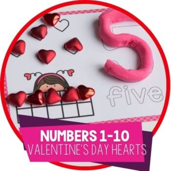 Free printable Valentine's Day math activity Valentine's Number Play Dough Mats for preschool math centers