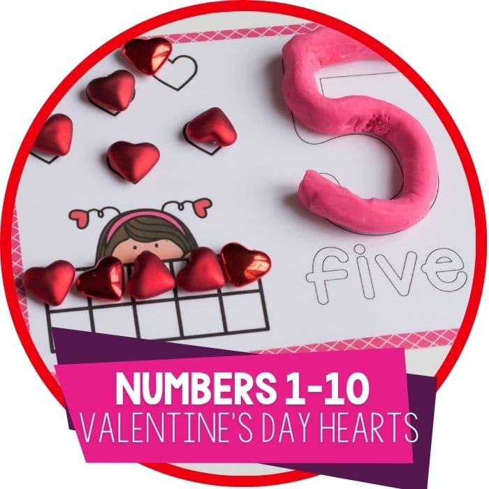 Valentine Ten-Frame Number Mats for 1-10