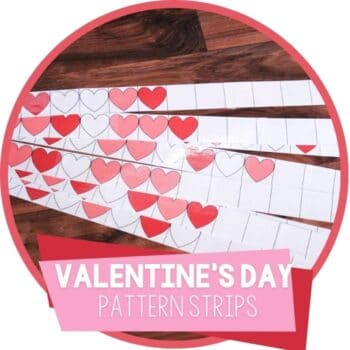 Free printable pattern activity for Valentines Day patterns for first grade and second grade