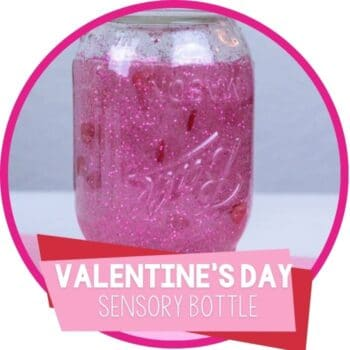 Valentines Day Heart Sensory Discovery Bottle made with a mason jar