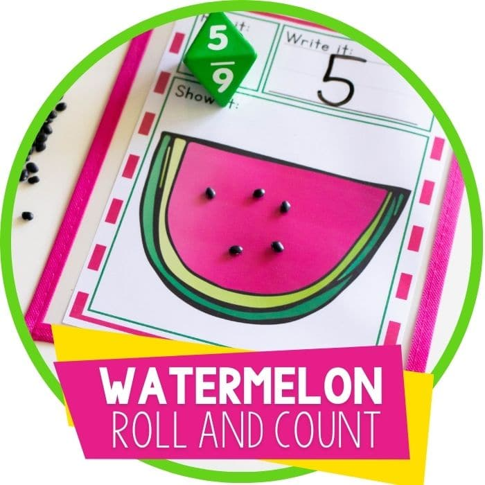 Free Watermelon Printable Roll and Count Simple Math Game