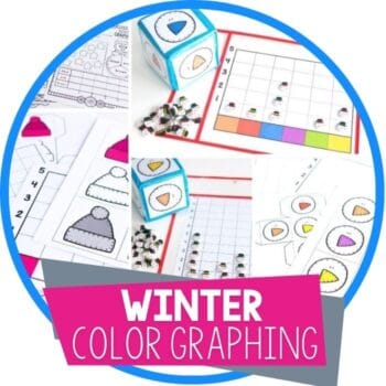 winter color graphing activities dice game, whole class graphing and worksheets featured image