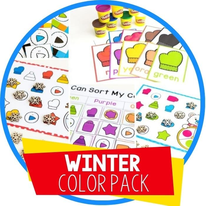 winter color recognition activities for preschool play dough mats, spinner game, sorting mat and clip cards featured image