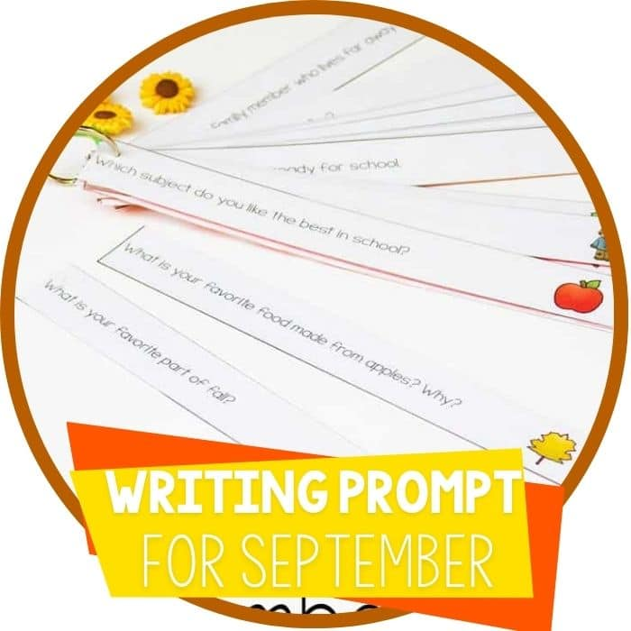 free printable writing prompts for September for kindergarten and 1st grade writing activity