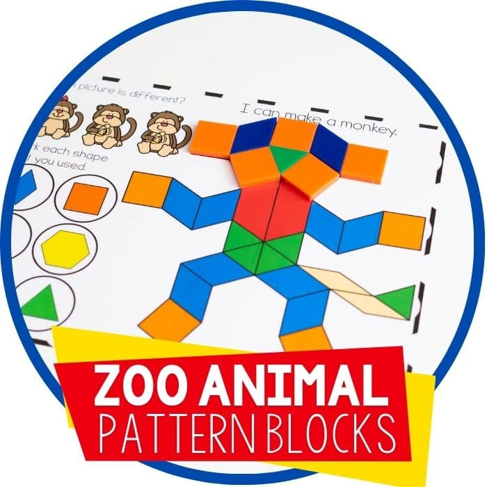 Printable Zoo Animal Pattern Block Activity for Preschool