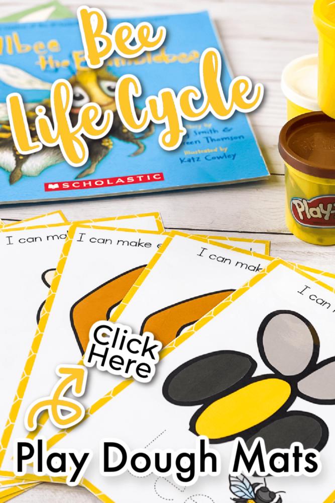 Free Bee Life Cycle Play Dough Mats