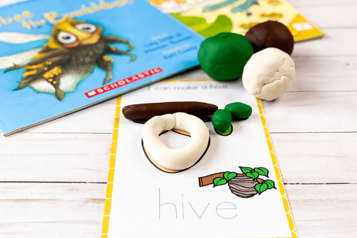 Life cycle of a bee activity for preschoolers to learn about the life cycle of a bee. Hive play dough mat shown