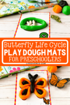 Butterfly Life Cycle Play Dough Mats for Preschoolers