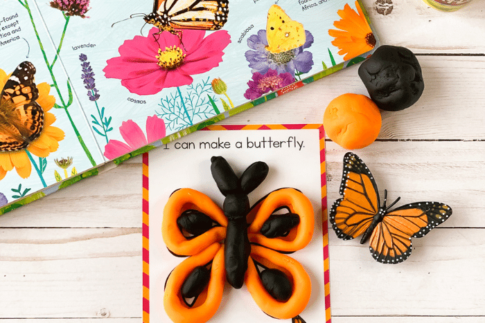 The butterfly life cycle play dough mat for a butterfly.