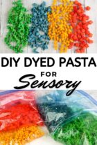 DIY Dyed Pasta for Sensory Activities