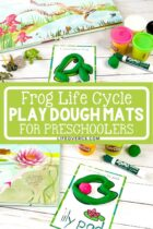 Frog Life Cycle play dough mats and books for preschool