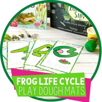 Frog life cycle play dough mats for preschool