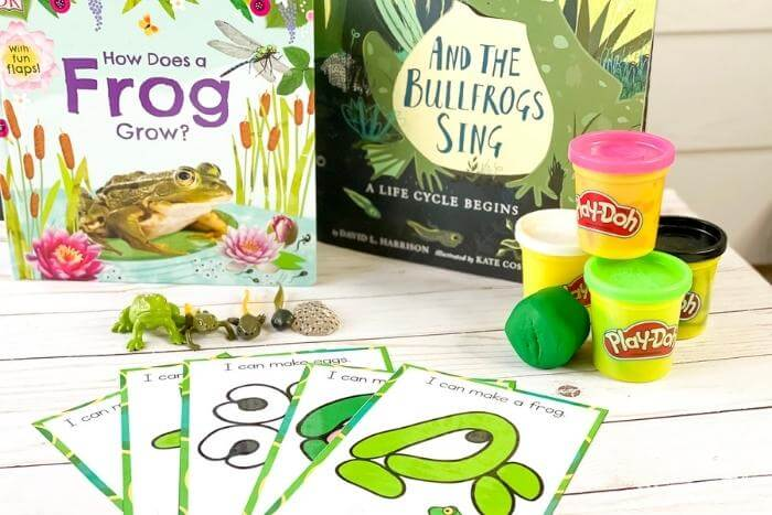 Frog life cycle play dough mats and books for preschool How Does a Frog Grow? And the Bullfrogs Sing books