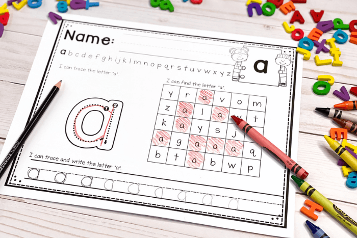 Overhead view of the lowercase alphabet worksheet for the letter