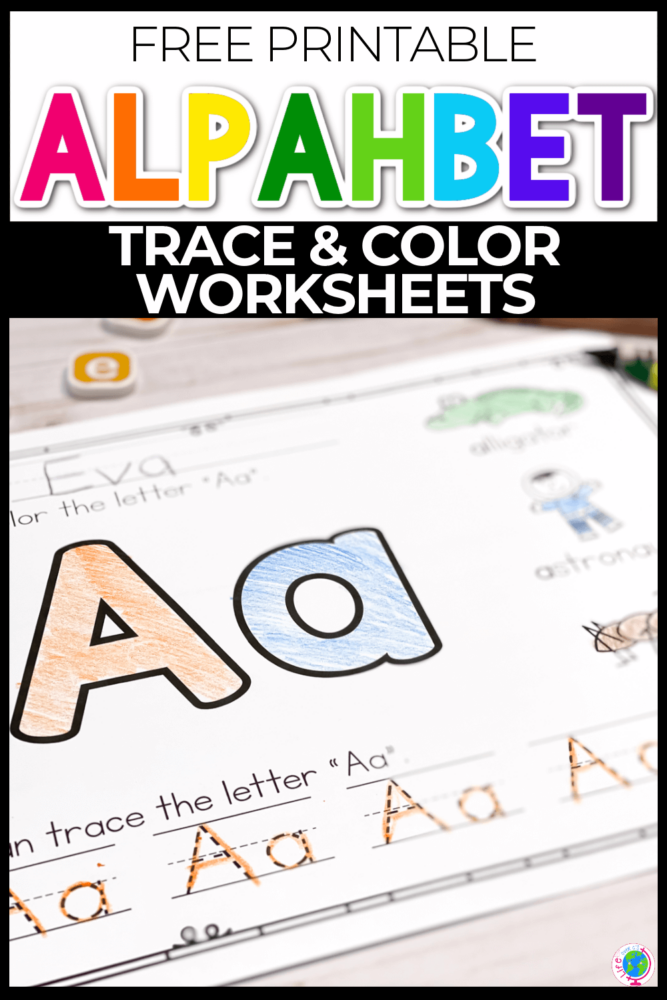Free Alphabet Trace and Color Worksheet Printables