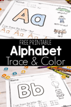 Free Alphabet Trace and Color Worksheets