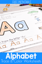 Alphabet Trace and Color Worksheets