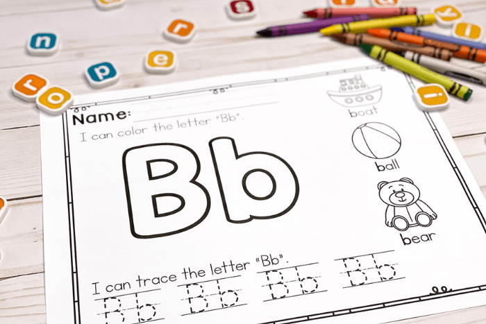 Overhead view of the alphabet trace and color worksheet for the letter