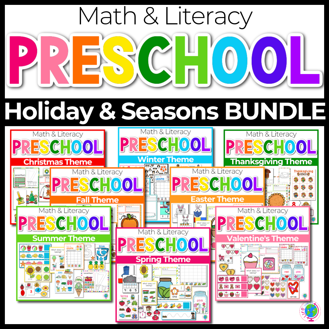 Preschool Holiday and Seasons math and literacy bundle