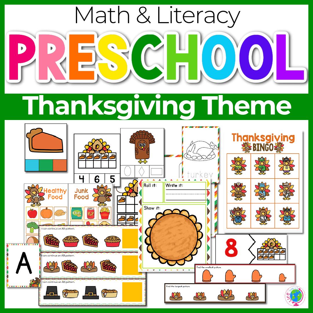 Thanksgiving Preschool Math and Literacy-6