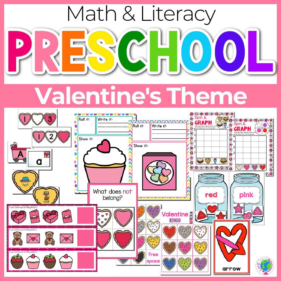 Valentines Preschool Math and Literacy-7