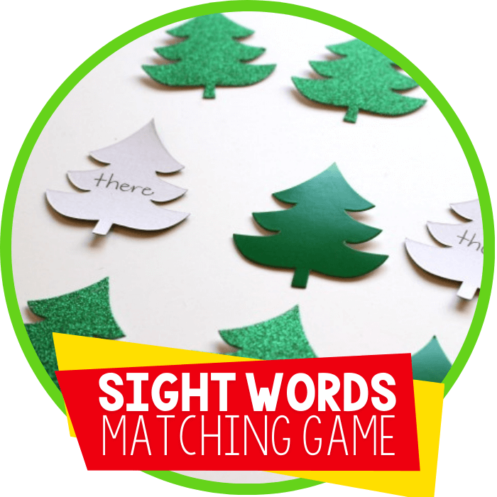 Customizable Sight Word Memory Game with Christmas Trees
