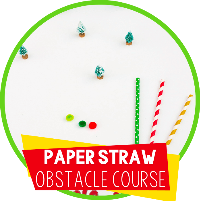 Paper Straw Obstacle Course for Winter