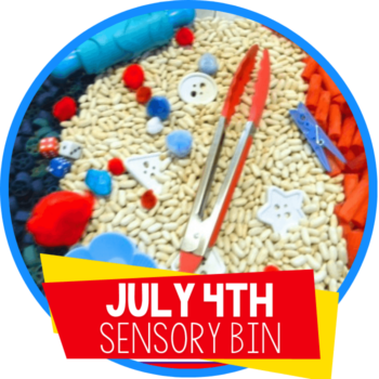 red white and blue sensory bin featured image
